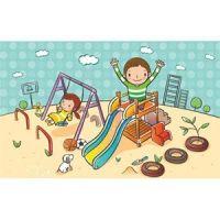 cute children cartoon clip art playing in landscape park sun is smiling birds are flying nice garden vector kids illustration