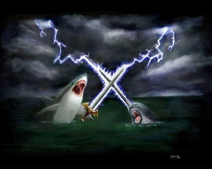 Shark vs Narwhal 16x20. $40.00, via Etsy.