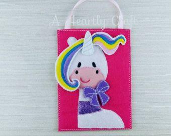 Fieltro bolsa ocupada unicornio con almacenamiento - Puzzle de unicornio - Regalo celebración - Soft Play - el regalo de cumpleaños - regalo de unicornio arco iris - partido favorecen