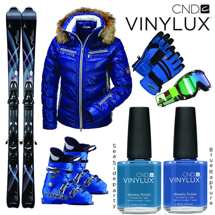 Skiing with style!  Vinteren er begyndt at vise sig, og måske venter der en skiferie forude. Vintertøjet skal selvfølgelig matches med smukke blå negle fra CND Vinylux, som holder til både kulde og skiløb. Disse smukke blå farver hedder Seaside Party og Blue Rapture.