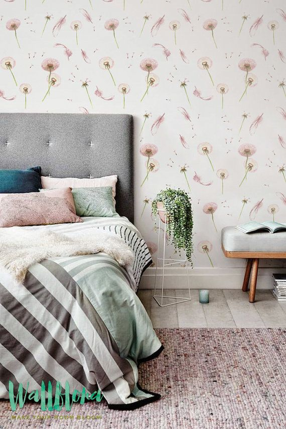 Dandelion and Feather Pattern Wallpaper Nursery by WallfloraShop