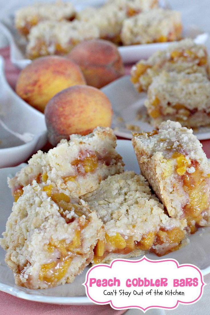 These dessert bars have a lovely lemony flavor added to the crust and peach cobbler filling and are reminiscent of eating peach cobbler but in cookie form!