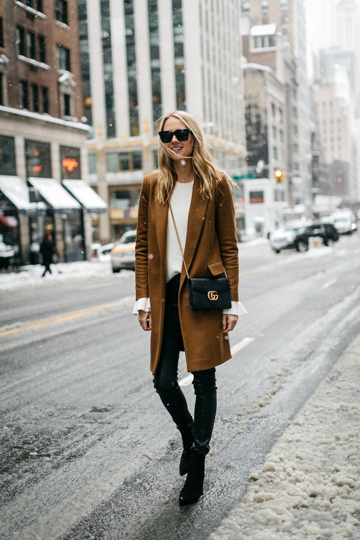 NYFW, Winter Outfit, Camel Wool Coat, White Ruffle Sleeve Sweater, Black Faux Leather Pants, Black Booties, Gucci Marmont Handbag, Street Style