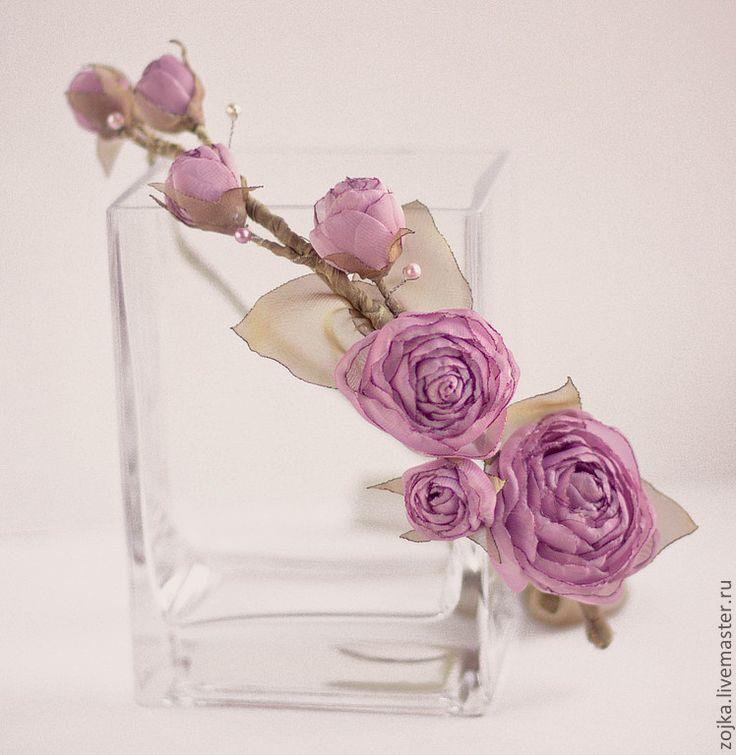 Купить Свадебный венок из роз - розовый, венок для невесты, диадема, венок на голову, цветы из ткани