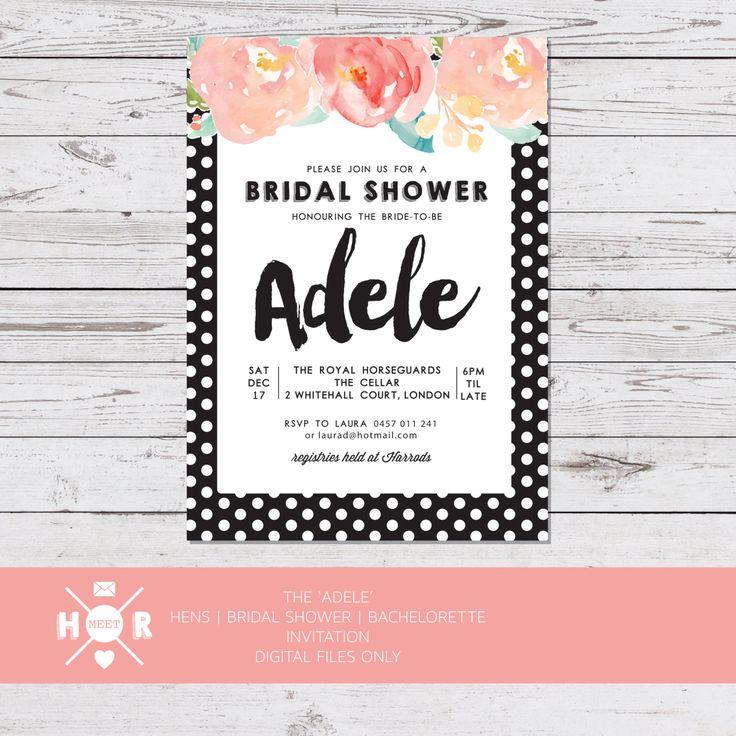 Printable - The 'Adele' Bridal Shower | Hens | Bachelorette Invitation by hudsonmeetrose on Etsy