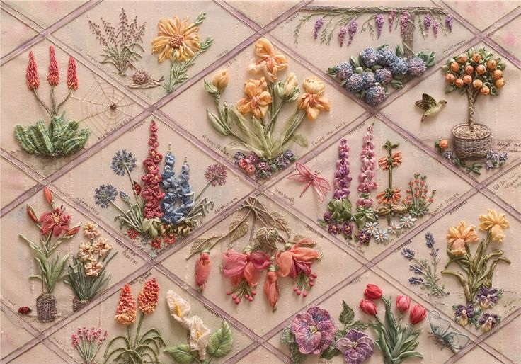 RES flower sampler by Di van Niekerk - Now why did I toss all my embroidery thread?!?!