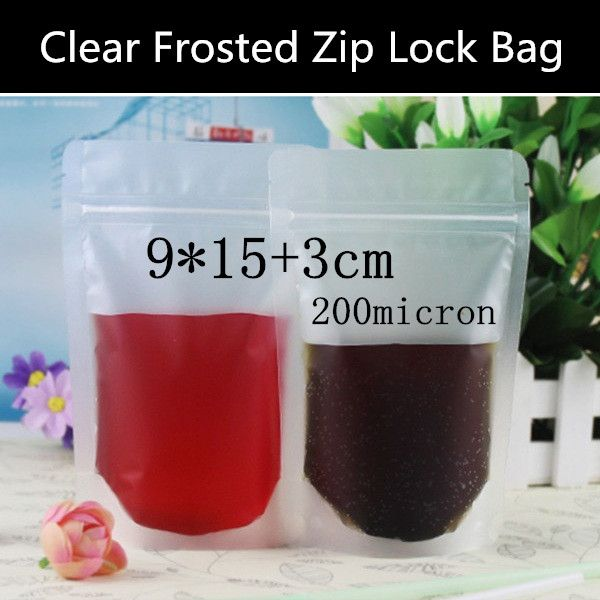 Wholesale 100pcs 9*15+3cm 200mic Frosted Plastic Food Display Bag Elegant Snack Packaging Bag Zip Lock Frosted Bag