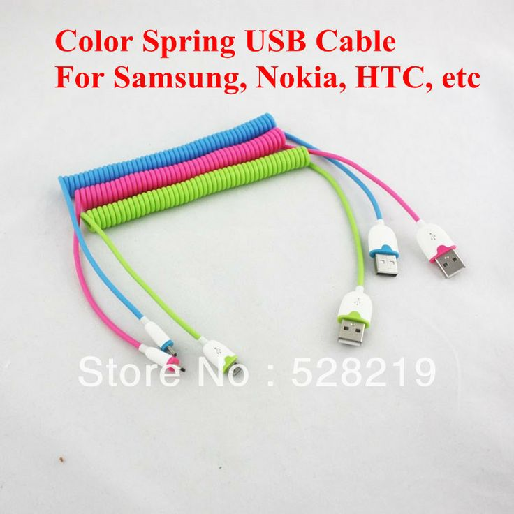 2pcs/lot Color Retractable Flexible 3ft 1M Spring Coiled USB 2.0 Male to Micro USB 5 Pin Data Sync Charger Cable for Samsung HTC $6.28