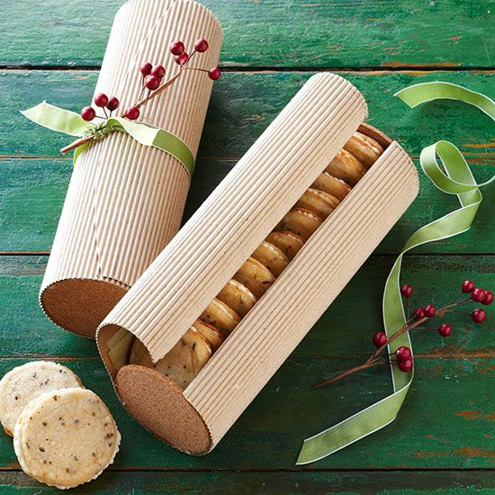 lemon-lavender cookies...gifted in a corrugated cookie tube{diy} tied with ribbon