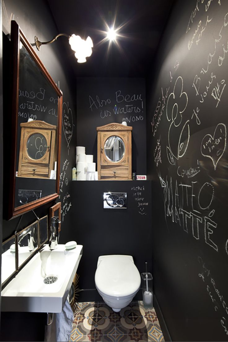 137 best toilette wc styl s images on pinterest for Idee deco murale toilettes