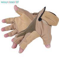 WOLFONROAD Rock Climbing Gloves Half Finger Rappel Gloves Sports Anti Skid Glove Hiking Cowhide Leather Gloves L-XDQJ-138