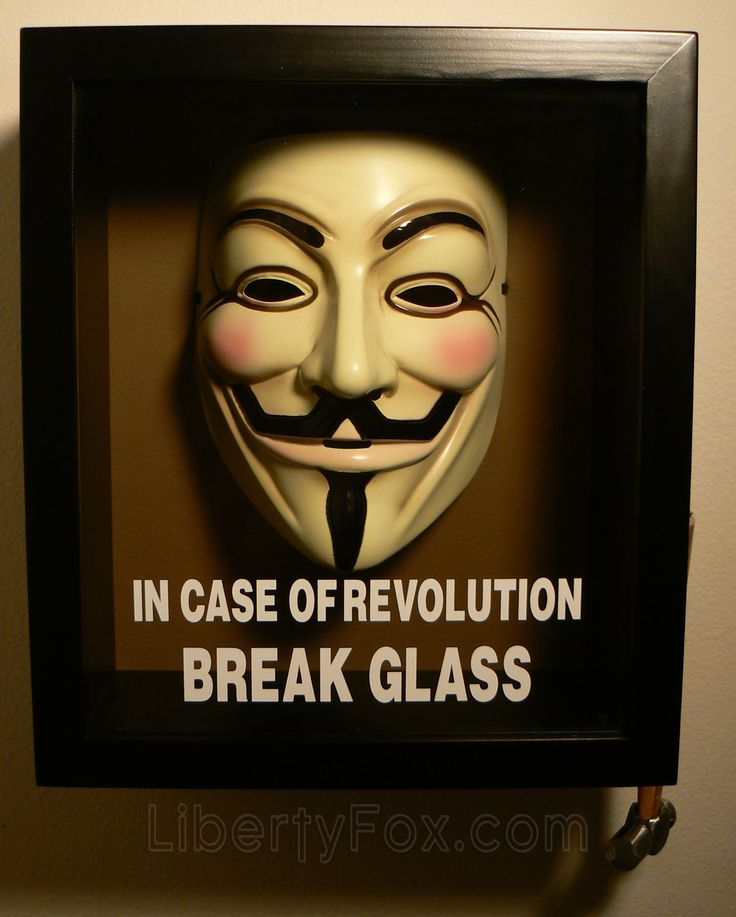 In Case of Revolution Break Glass (V for Vendetta) Anonymous Mask Shadow Box from Etsy. Oh my, this is perfect geeky wall art.