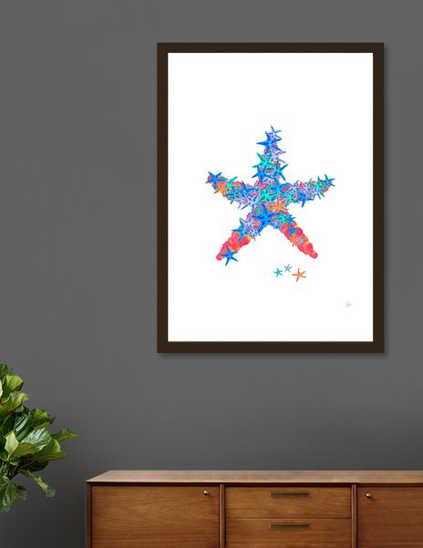 Discover «Starfish Coral», Numbered Edition Fine Art Print by Amaya Brydon - From $19 - Curioos @curioos #starfish #art #beach #ocean #Reef