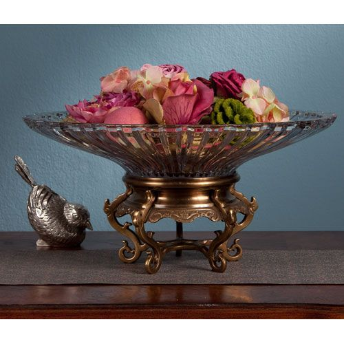 Antique Brass Stand with Crystal Bowl #BELLHOT12