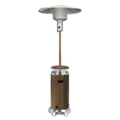 Finish:Stainless Steel/Hammered Bronze Outdoor Propane Patio Heater withAdjustable Table Wheels for easy mobility Access door design Adjustable table CSA approved Thermocouple and Anti-Tilt safety devices Easy start Piezo ignition Heat production of 41,000 BTUs which heats a 15-ft diameter Burner cover and regulator included Uses 20-lb propane tank (not included), lasting 8-10 hours on high