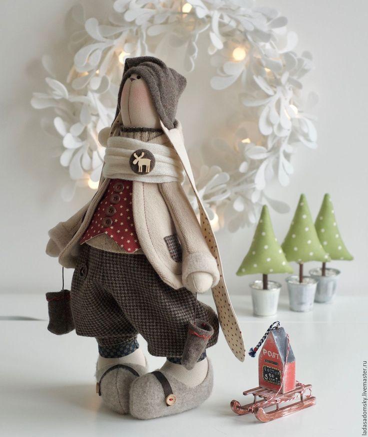 """Купить Зайчик Бруно """"Зимнее настроение """" - текстильная игрушка 39 см - коричневый, бежевый"""