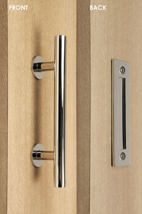 Barn Door Pull And Flush Tubular Door Handle Set (Polished Chrome Finish)