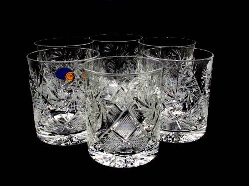 Set Of 6 Russian Cut Crystal Scotch Whiskey Glasses 330ml