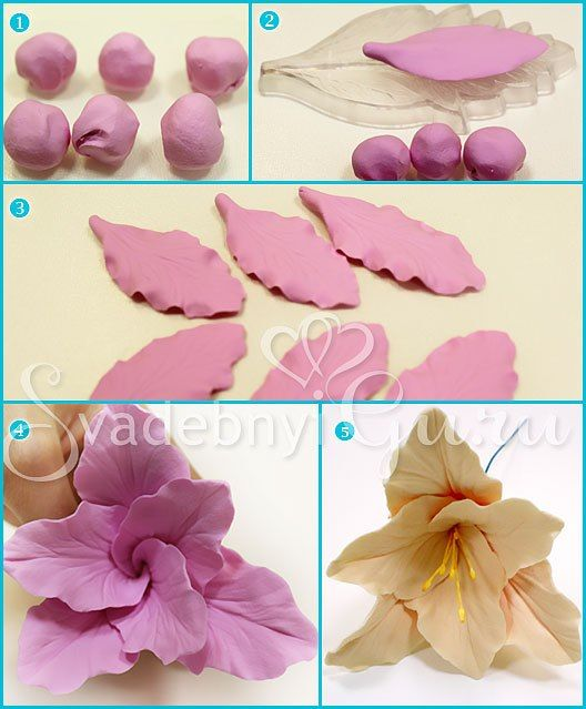 How To Use Cake Art Flower Moulding Paste : Tutorial: Flor campana de fimo. FIMO - ARCILLA ...
