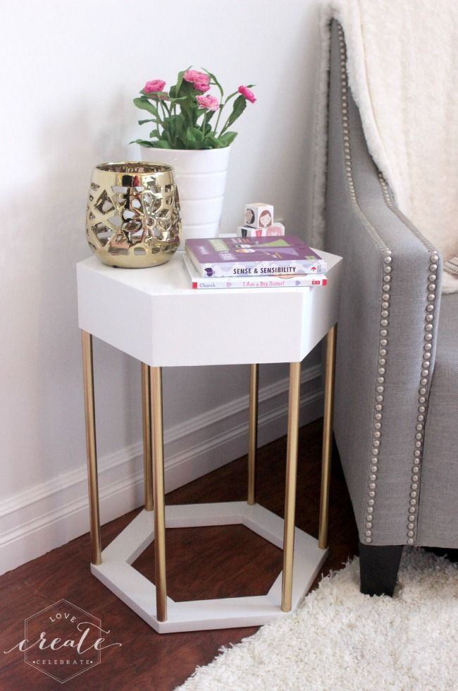 Chic Hexagon Side Table with Copper Pipe legs! Design plans included |  | Love Create Celebrate