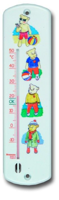 White Wall Thermometer 250mm -Teddy Bear Design - White wall thermometer with orange temperature scale, green OK zone and teddy bear design. ºC only.