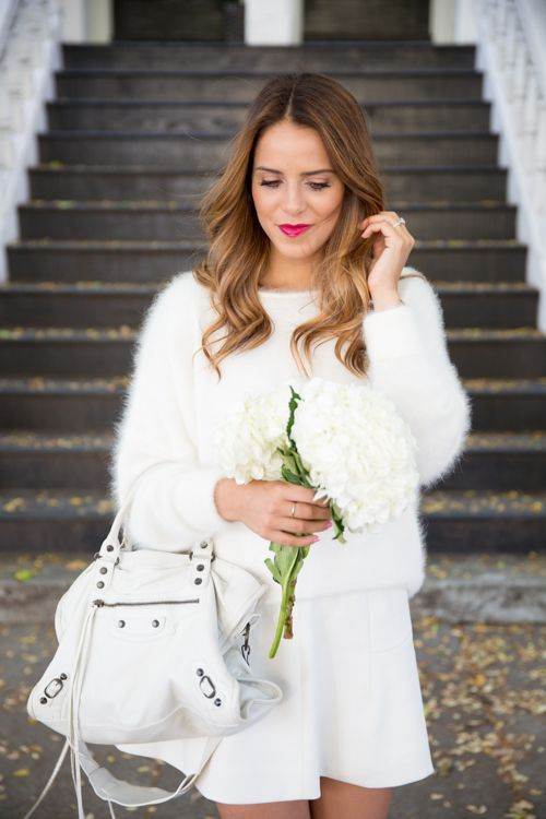 All white outfit with fluffy sweater, by Julia Engel from the blog Gal Meets Glam