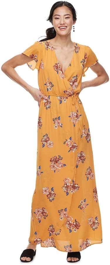 16b35d8f7 Juniors' Trixxi Flutter Sleeve Floral Maxi Dress | Products | Floral ...