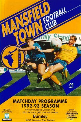Mansfield Town 1 Burnley 1 in Jan 1993 at Field Mill. Programme cover #Div2
