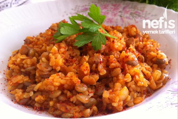 ✿ ❤ ♨ Yeşil Mercimekli Bulgur Pilavı tarifi. (Yeşil mercimekli pirinç pilavı da çok güzel oluyor :)