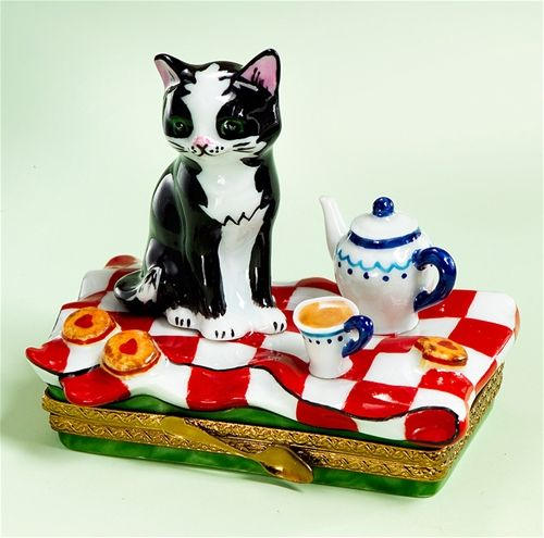 Limoges Black Cat at 5 O'Clock Tea Box  The Cottage Shop