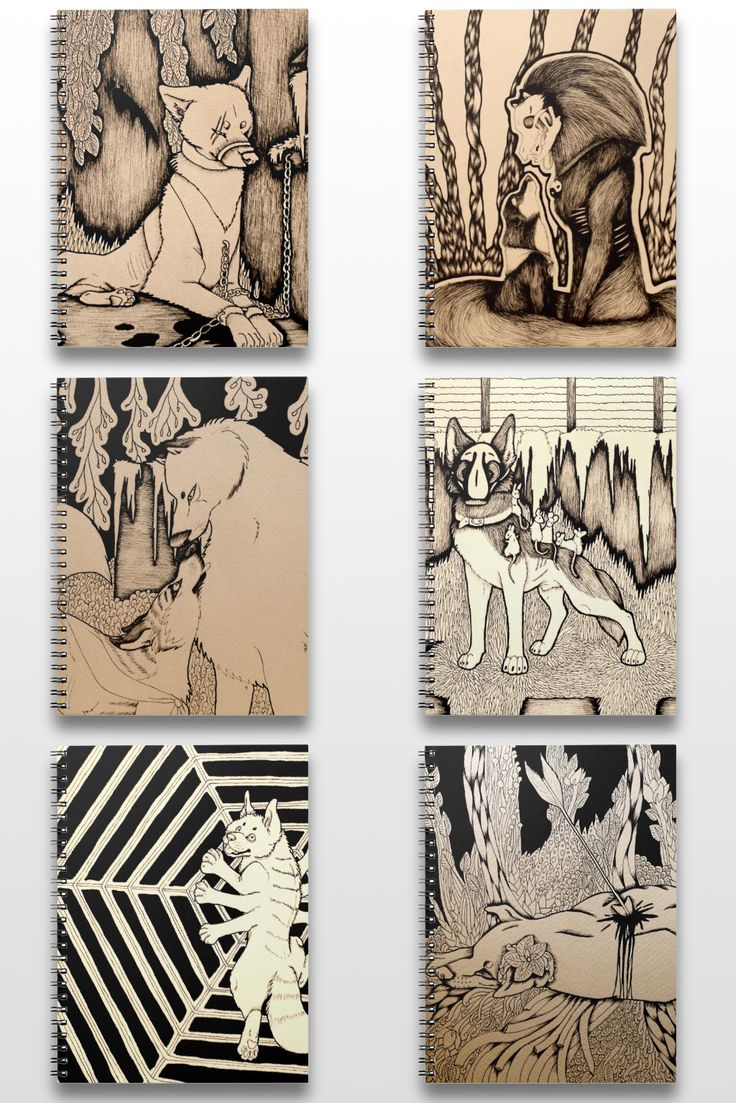 Black And White Illustrated Dog Notebooks #art #illustration #products #sepia