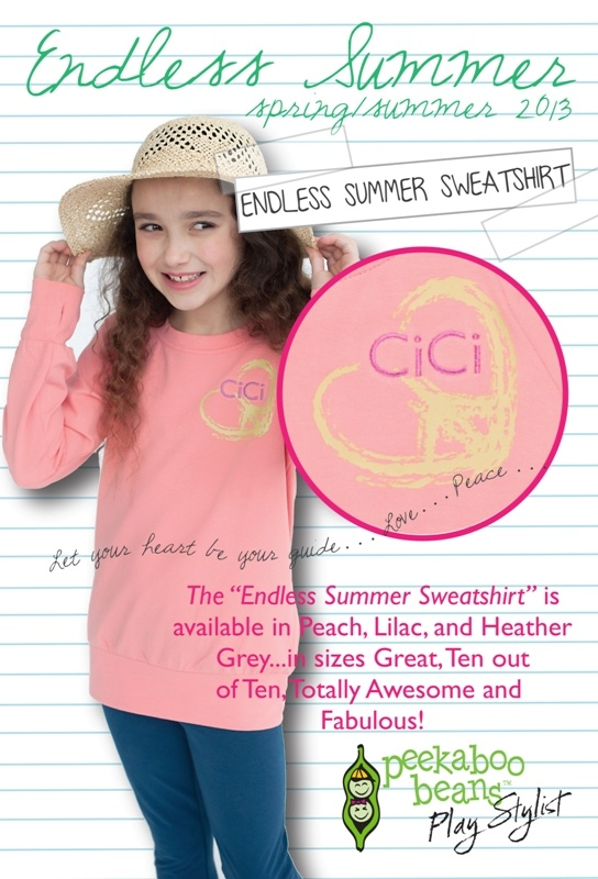 From the CiCi Bean Spring 2013 Collection - Endless Summer.  Visit www.peekaboobeans.com to find out more!