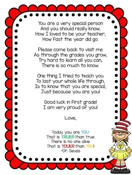 End of year letter to students with Seuss graphics. This product is editable.