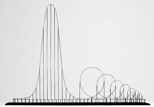 "The Euthanasia Coaster, a concept for a steel roller coaster designed to kill its passengers. In 2010, it was designed and made into a scale model by Julijonas Urbonas, a PhD candidate at the Royal College of Art in London. He stated that the goal of his concept is to take lives ""with elegance and euphoria."" The seven loops put the human body under such stress that it causes the brain to be starved of oxygen, as the heart simply cannot push blood against the enormous g-forces."