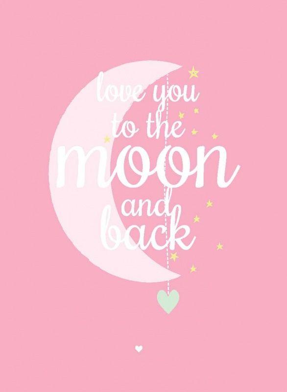 Poster maan roze A3. Mooie poster met een lieve tekst om elke dag tegen je kindje te zeggen. A3 formaat, 29,7 x 42 cm, geprint op 300g off set papier, FSC. Sterren decoratie kinderkamer babykamer Ook als kaartje ansichtkaart postkaart
