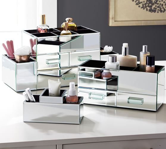 Mirrored Makeup Container Small Brush Holder Gbb
