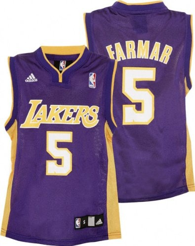 Jordan Farmar Youth Jersey: adidas Purple Replica #5 Los Angeles Lakers Jersey Detailed to look like Jordan Farmar's real jersey, sized for a youth, and priced to make you cheer! This quality Los Angeles Lakers Replica Jersey features screen printed team logo and number on front, player name and number on back. Perfect for gift giving.