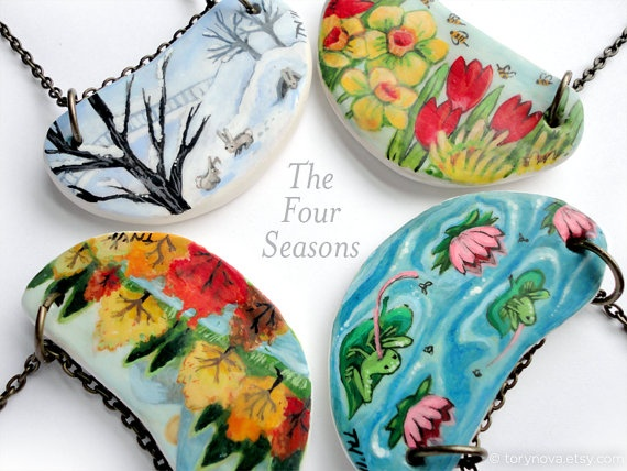 The Four Seasons - Painted Clay and Chain Necklaces