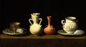 Four Vessels by Francisco De Zurbaran Prado Müzesi