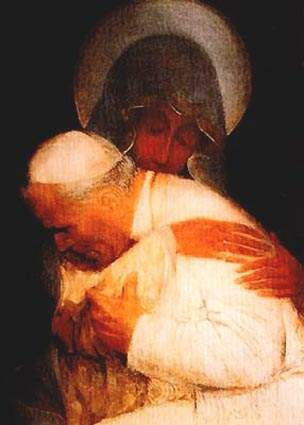 """Mary embracing John Paul II - a successor of St. Peter the first Pope.  """"I say to you, you are Peter, and upon this rock I will build my church, and the gates of the netherworld shall not prevail against it.  I will give you the keys to the kingdom of heaven.  Whatever you bind on earth shall be bound in heaven; and whatever you loose on earth shall be loosed in heaven.    Matt 16:17-19"""