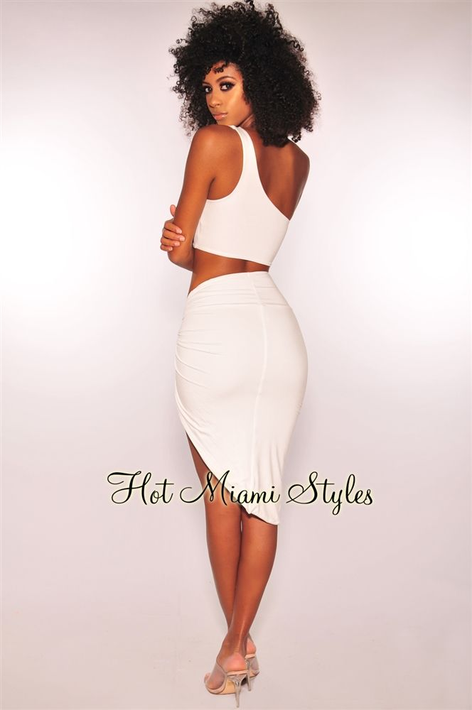 08a91850df5 White One Shoulder Knotted Slit Two Piece Set in 2019 | Hot Miami ...