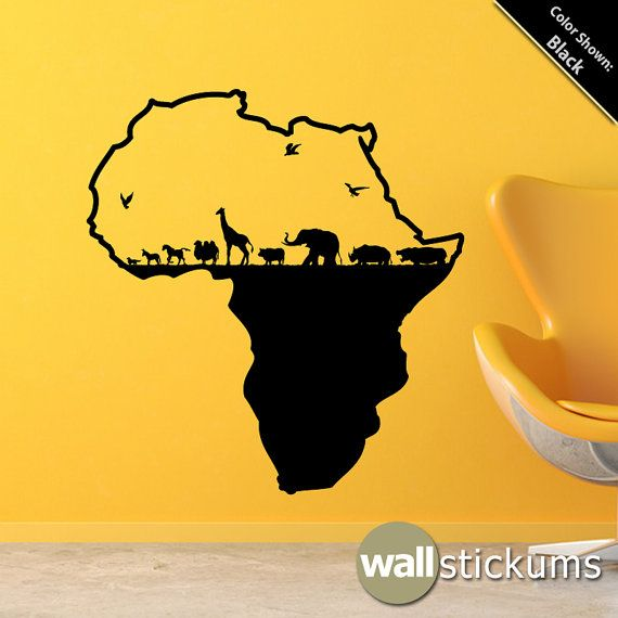 Africa Safari Animals Wall Decal Vinyl Wall Art Decal Sticker Elephant Giraffe