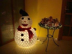 Cool snowman!  Plastic cups.