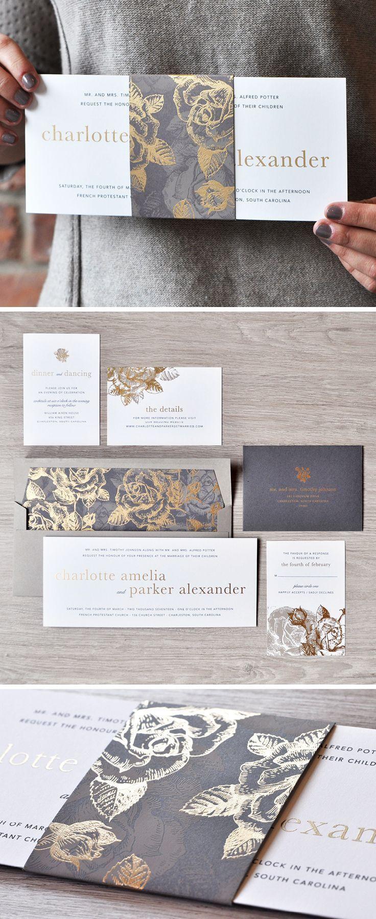 A stunning gold and grey wedding invitation