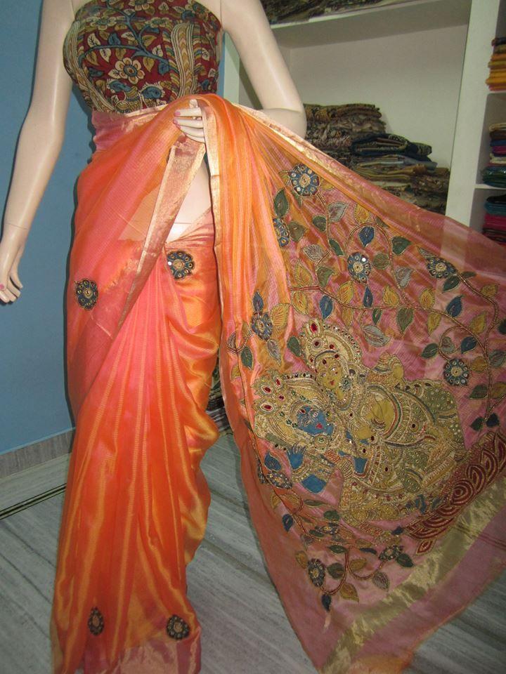 Kota silk with pen kalamkari maggam work saree