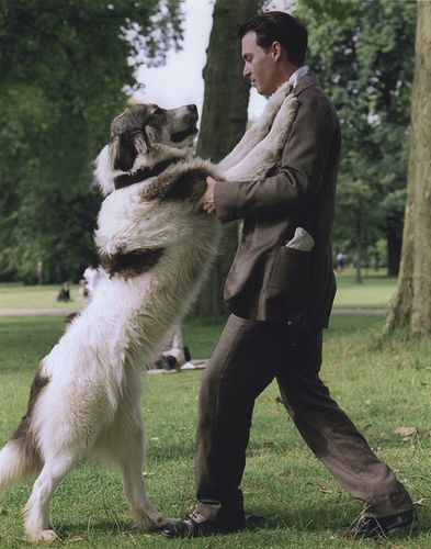 """""""Finding Neverland"""" Johnny Depp dancing with Nana the Newfoundland- Need to watch this movie again."""