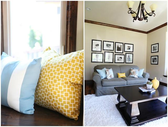 Vintage Rustic Blue & Yellow Living Room | Brooke Jones Designs