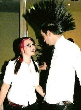 Rock n roll dancing with a huge mohawk