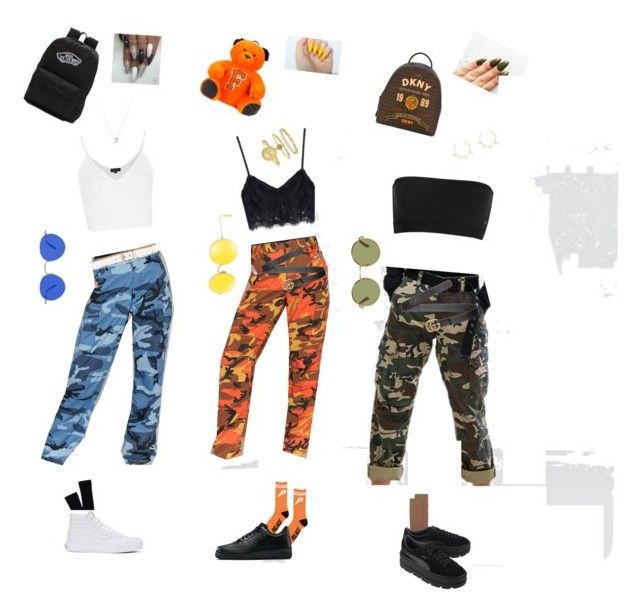 """""""How to style camp trousers ❤️❤️ love the outfits I made ❤️❤️"""" by fashionabbie on Polyvore featuring Leah Kirsch, Dickies, Menu, Topshop, Pendleton, Vans, Links of London, NIKE, Puma and Ray-Ban"""