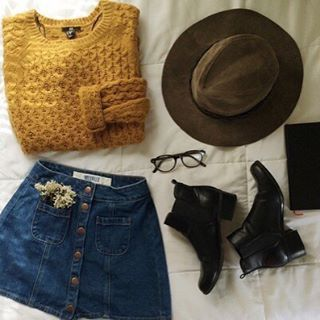 | Mustard Cable Knit Sweater | Denim Button Up Skirt | Black Chelsea Booties | Brown Brim Hat |